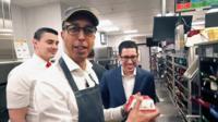 BBC's Kamal Ahmed making a burger