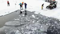 An ice pool being built in Russia