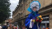 A large Lily Savage effigy in the Pride in Hull parade