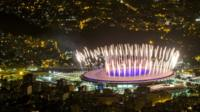 Rehearsal for the opening ceremony of the Rio Olympic Games at the Maracana stadium