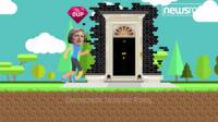 A cartoon Theresa May outside Number 10