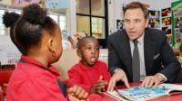 David Walliams reads to school children
