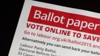 A Labour Party leadership ballot paper