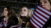 Three women at Bernie Sanders rally