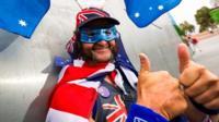 A man celebrates Australia Day