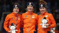 Netherlands' Carlijn Achtereekte, Ireen Wust and Antoinette de Jong