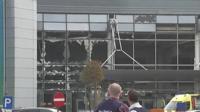 Airport building with broken windows
