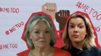 Composite image of two women in front of a MeToo banner