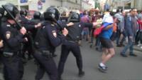 Полиция на акции протеста в Москве