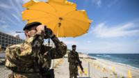 Italian soldiers on beach at Giardini Naxos - 25 May
