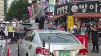 Man smashes car