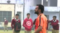 Former drug addict Rajinder Sandhu playing football