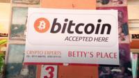Bitcoin notice in shop