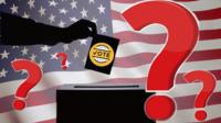 Composite of voter casting ballot and question marks