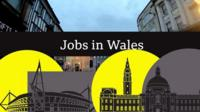 Graphic to illustrate jobs in Wales - with image of civic centre and stadium
