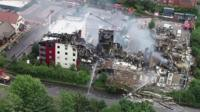 Drone footage of hotel fire