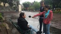 School Reporters interviewing man