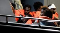 Migrants are brought to Valetta, Malta