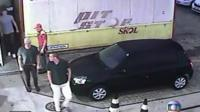 Still image from CCTV purports to show three US swimmers at a petrol station in Rio