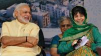 Prime Minister Narendra Modi and J&K Chief Minister Mehbooba Mufti (19 April 2016)