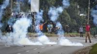 Tear gas clouds in Nairobi