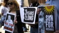 Supporters of WikiLeaks founder Julian Assange in London
