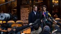 "Audrey Bily (R) and Romain Debray, managers of the bar ""A la Bonne Biere"", deliver a press conference in front of the cafe in Paris on December 4, 2015"