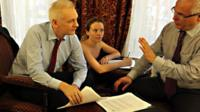 Julian Assange, Sarah Harrison and Balthasar Garcon