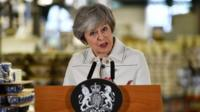 """Theresa May says Brexit could be in jeopardy if MPs vote against her deal in Tuesday's """"meaningful vote""""."""