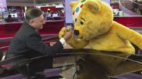Presenter Simon McCoy and Pudsey