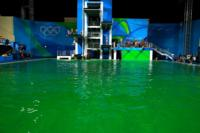Olympic diving pool with green water