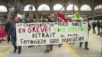 Striking railway workers at Gare du Nord station in Paris