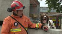 Fire service dog handler Graham Currie with Kirby