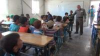 Syrian children in classroom.