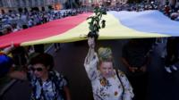 """Protesters chant """"resign"""" at a rally in Romania over missing teen Alexandra Macesanu"""