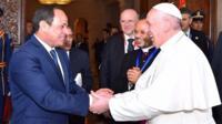 Pope Francis was greeted by President Abdel al Fattah al-Sisi