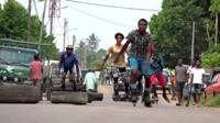 Rollerbladers in Ivory Coast
