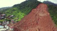 Mountain side after mudslide in Sierra Leone