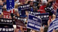 Republican delegates wave placards supporting Donald Trump
