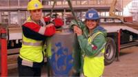 Blue Peter episode from 1998 showing the millennium time capsule being buried