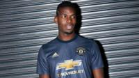 Paul Pogba wearing a new Man United shirt created from Parley Ocean Plastic in support of movement to end marine plastic pollution