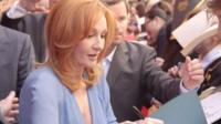 JK Rowling signs autographs for fans