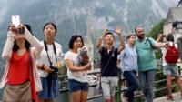 Tourists in Hallstatt