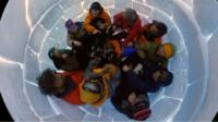 The BBC's Justin Rowlatt learnt to make an igloo while visiting Antarctica's Thwaites Glacier.
