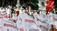View of supporters of Mexican presidential candidate for the MORENA party, Andres Manuel Lopez Obrador, during a campaign rally in Texcoco, state of Mexico, on June 17, 2018