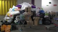 Piles of donated items