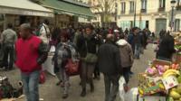 Street scene in Paris suburbs
