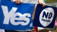 "Yes and No signs from Scotland""s independence referendum in 2014"