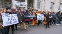 Boxing Day anti-hunt protest in Lewes, East Sussex