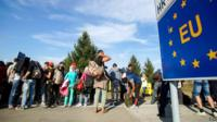 Migrants at Croatia-Hungary border